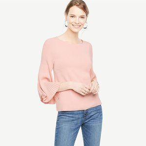 Ann Taylor Pleated Bell Sleeve Sweater Shino Pink